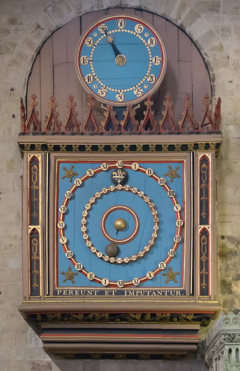 Exeter_Cathedral_Dating from 1484, the large dial of the Exeter Astronomical Clock is a working model of the solar system