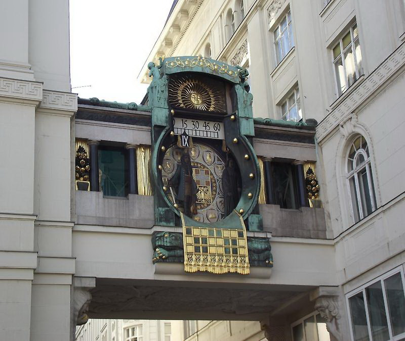 The beautiful and unique Ankeruhr (Anker Clock) overlooks the oldest square in Vienna, the Hoher Markt (Upper Market). The clock - built between 1911 and 1917