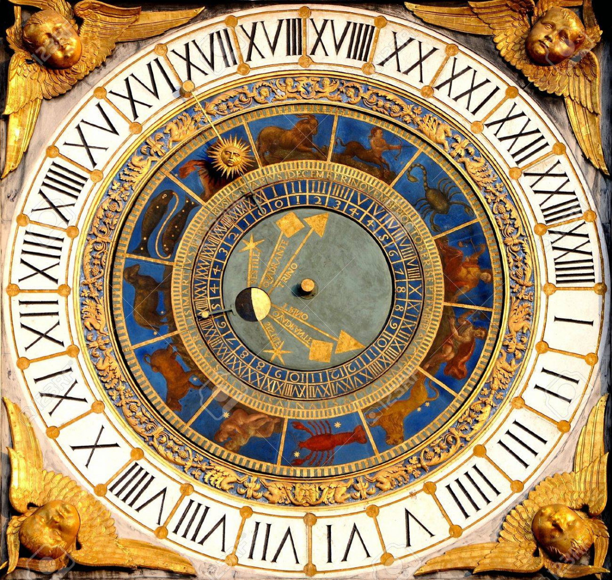 renaissance-astronomical-clock-in-brescia-Lombardy -Italy-years-1540-50-displays-hours-moon-phases-and-the-zodiac